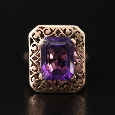 Arts & Crafts 9K 7.40 CT Amethyst Ring with Rectangular Piercework