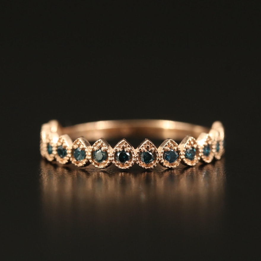 14K Diamond Milgrain Band