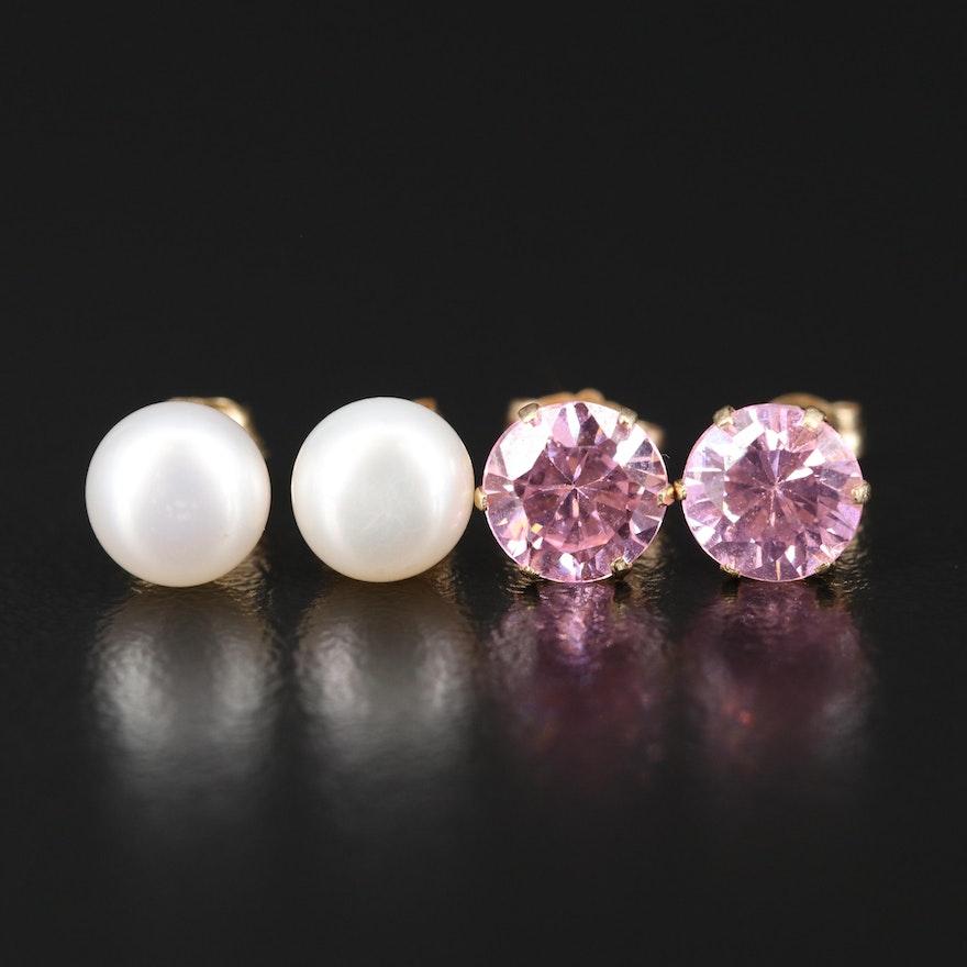 10K Button Pearl Earrings and 14K Cubic Zirconia Stud Earrings