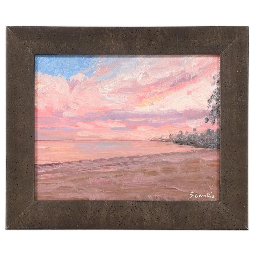 Sean Wu Oil Painting of Coastal Sunset, 2021
