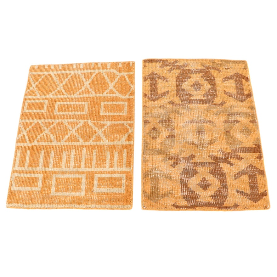 2'1 x 2'11 Hand-Knotted Indian Wool Accent Rugs from The Rug Gallery