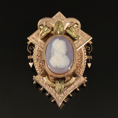 Victorian 10K Agate Cameo Converter Brooch with Green Gold Leaves Accent