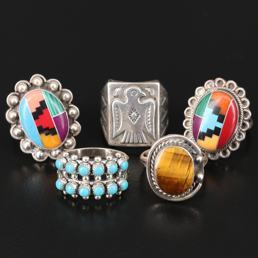 Mexican and Southwestern Sterling Ring Assortment Featuring Bell Trading Post