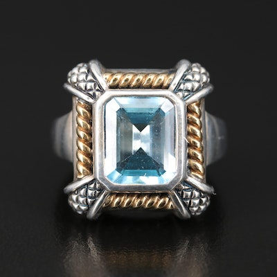 Sterling Topaz Ring with 18K Rope Accents