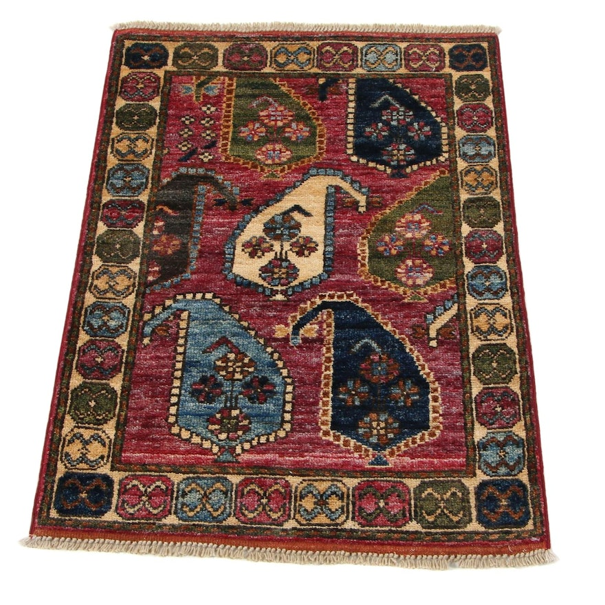 2'2 x 3'1 Hand-Knotted Caucasian Karabagh Boteh Accent Rug, 2010s