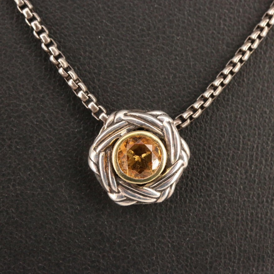 Sterling Silver Citrine Pendant Necklace with 18K Accent