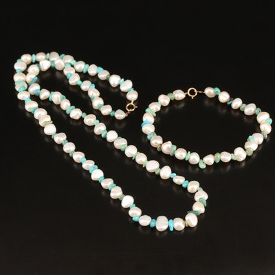 Pearl and Turquoise Necklace and Bracelet Set with 10K Clasps