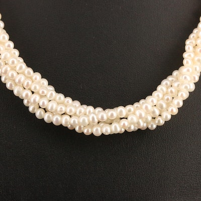 Pearl Torsade Necklace with 14K Clasp