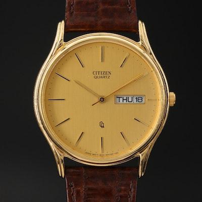 Vintage Citizen CQ Day-Date Gold Tone Quartz Wristwatch