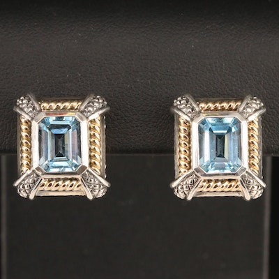 Sterling Topaz Square Earrings with 18K Accents