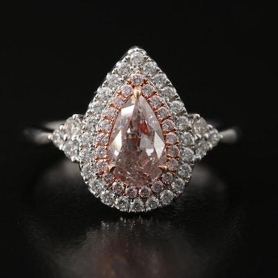 18K 1.27 CTW Diamond Double Halo Teardrop Ring with GIA Report