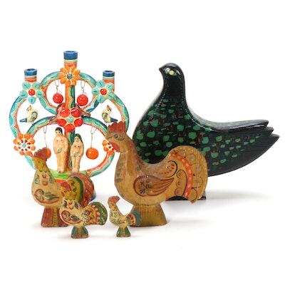 "Hand Painted Plaster ""Tree of Life"" Candle Holder and Wood Bird Figurines"