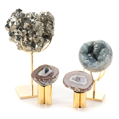 Pyrite, Agate, and Celestine Geode Specimens
