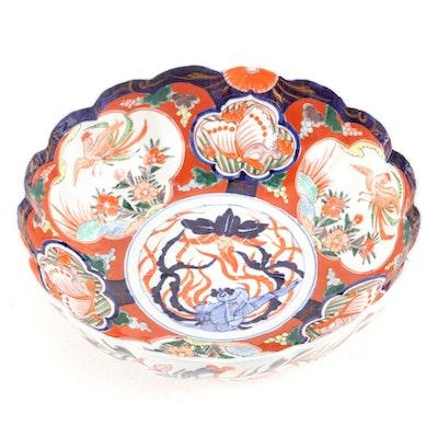 Japanese Imari Porcelain Scalloped Edge Bowl, Antique