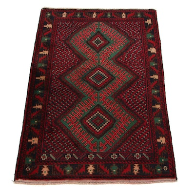 2'11 x 4'6 Hand-Knotted Persian Baluch Accent Rug, 2000s