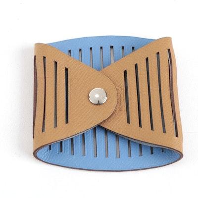 Hermès Togo Leather Petit H Ajoure Reversible Bracelet