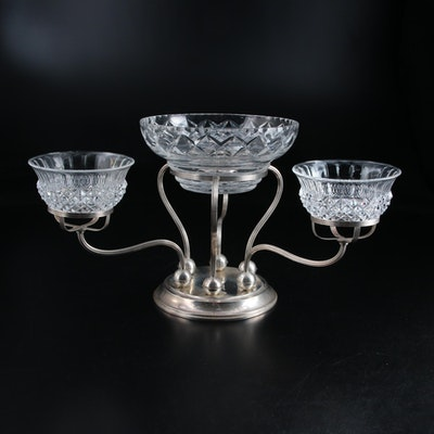 Gorham Weighted Sterling Silver Epergne with Crystal and Glass Bowls