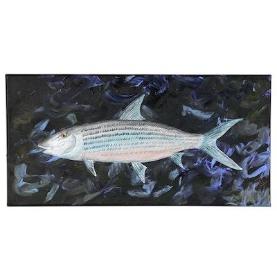 "George McElveen Acrylic Painting of ""BoneFish"", 2020"