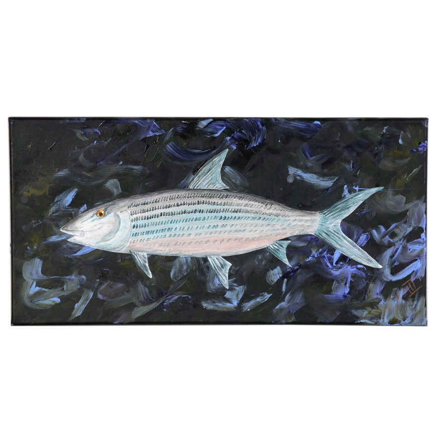 "George McElveen Acrylic Painting of ""BoneFish"", 2020"