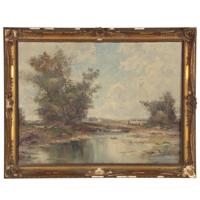 K. Richter Landscape Oil Painting of River, Early 20th Century
