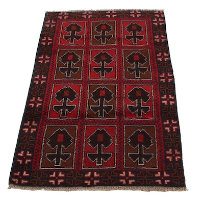 3' x 4'9 Hand-Knotted Afghan Turkmen Accent Rug, 2000s