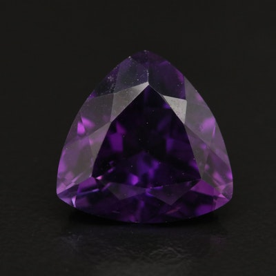 Loose 6.41 CT Trillion Faceted Amethyst