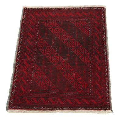 2'4 x 3'2 Hand-Knotted Persian Baluch Accent Rug, 1940s