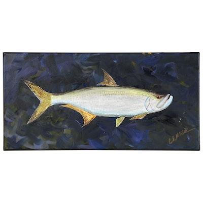 "George McElveen Acrylic Painting of Fish ""Tarpon,"" 2020"