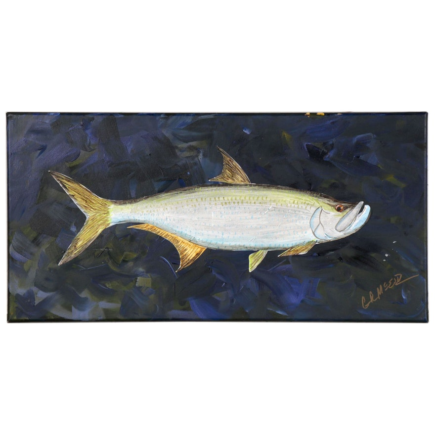 "George McElveen Acrylic Painting of Fish ""Tarpon,"" 2020"