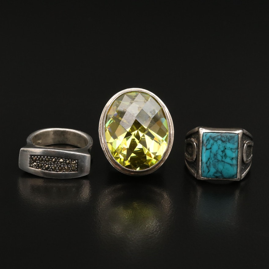 Sterling Rings Featuring Sarda, Marcasite and Turquoise