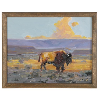 Stephen Hedgepeth Sunset Landscape Oil Painting with Buffalo