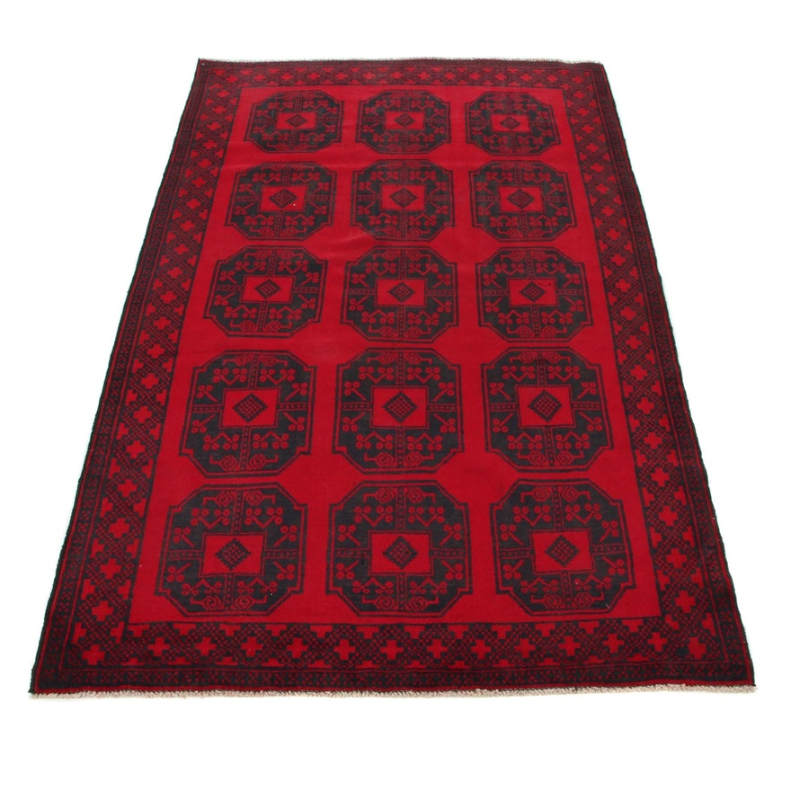 4'2 x 6'9 Hand-Knotted Afghan Turkmen Area Rug, 2000s