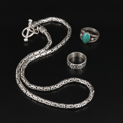 Sterling Byzantine Chain with Turquoise and Flower Rings
