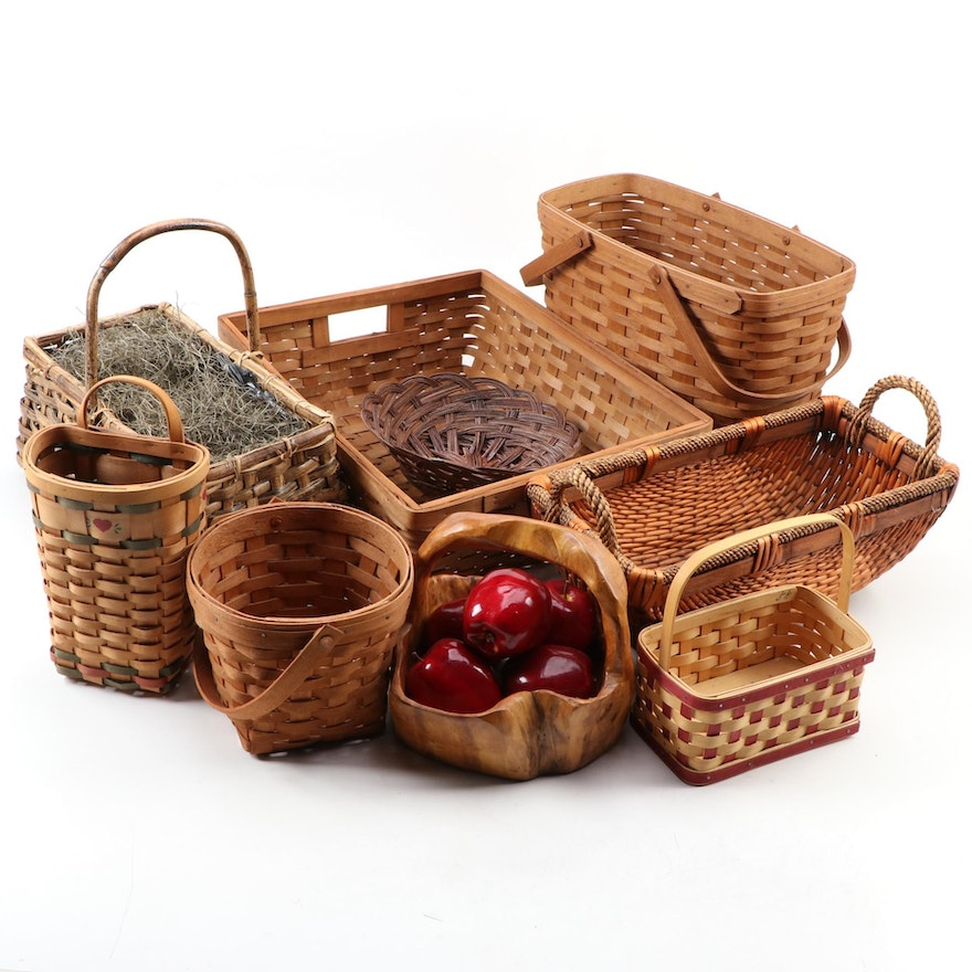 Longaberger and Other Split Wood, Cane and Reed Woven Baskets