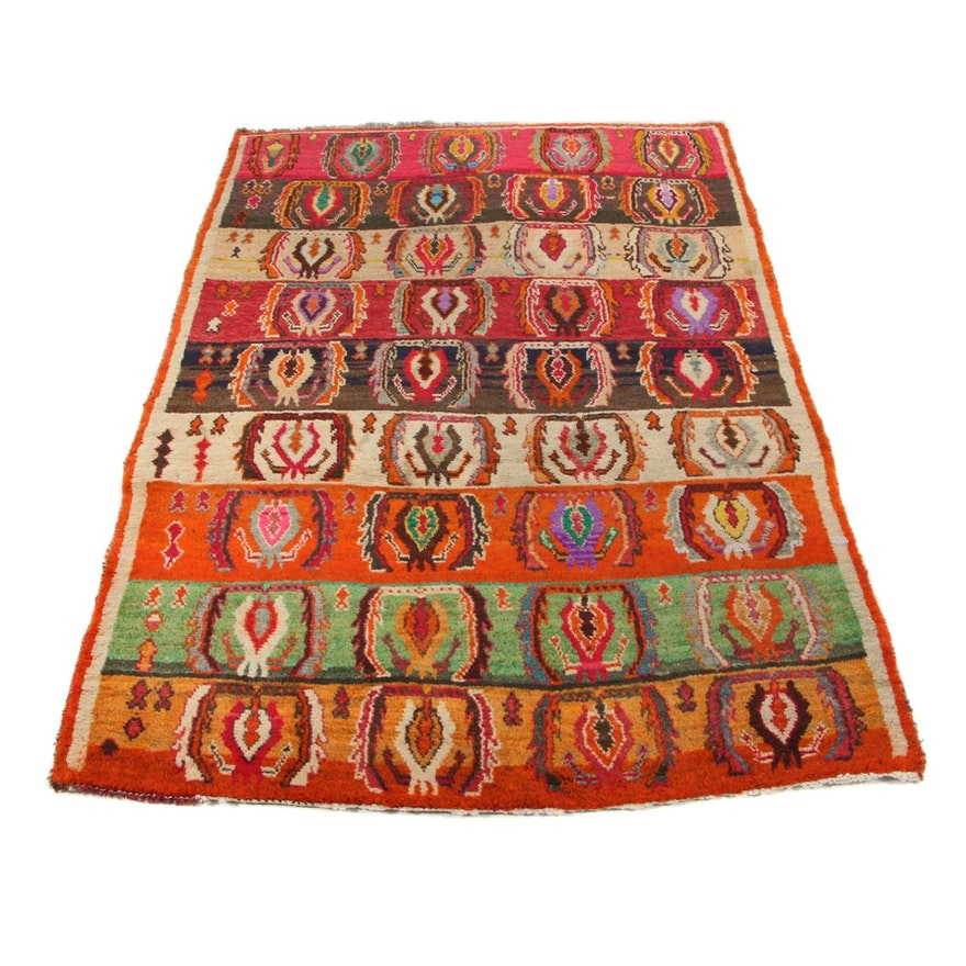 4'0 x 5'5 Hand-Knotted Persian Gabbeh Area Rug, 1940s