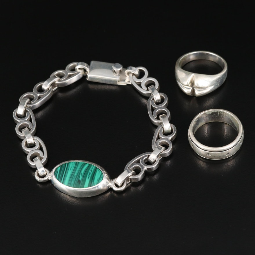Mexican Sterling Faux Malachite Bracelet with Rings