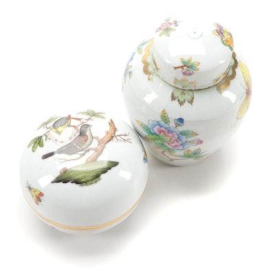 "Herend ""Rothschild Bird"" Porcelain Box with ""Queen Victoria"" Ginger Jar"