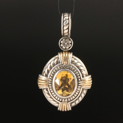 Sterling Citrine Enhancer Pendant with 18K Accents