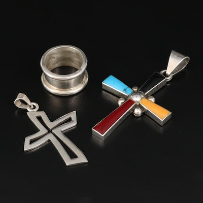 Sterling Wide Band and Cross Pendants with Enamel