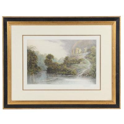 "Hand-Colored Engraving after David Law ""Knaresborough Castle"""
