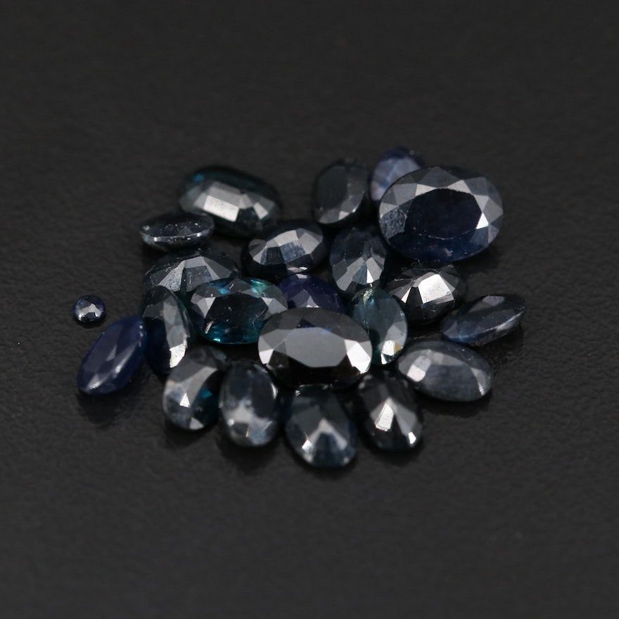 Loose 14.46 CTW Oval and Round Faceted Sapphires