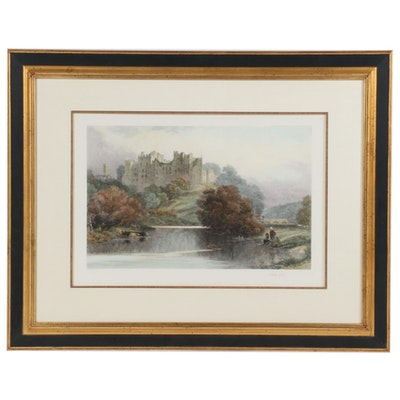 """Hand-Colored Etching after David Law """"Ludlow Castle"""""""