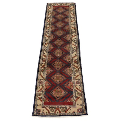 2'8 x 10'7 Hand-Knotted Persian Hamadan Carpet Runner