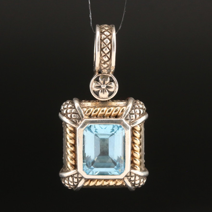 Sterling Topaz Enhancer Pendant with 18K Accents