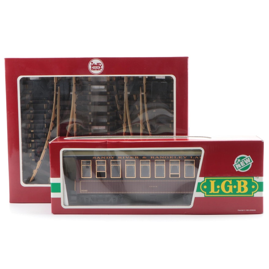 Lehman Gross Bahn Model Sandy River & Rangeley Lakes Train Car, and Tracks