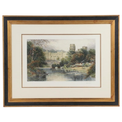 """Hand-Colored Engraving after David Law """"Warwick Castle"""""""
