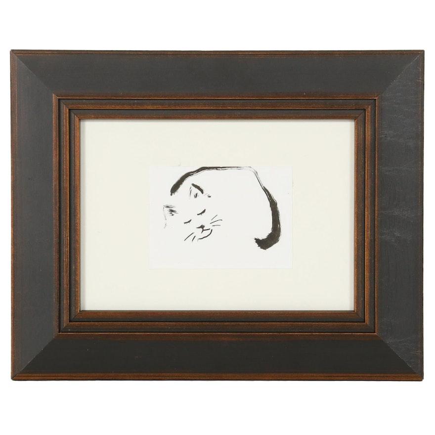 "Lin Li Watercolor Painting ""Dreaming,"" 2021"