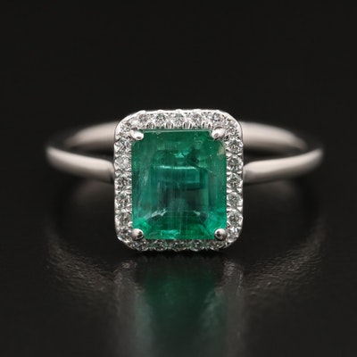 14K 1.82 CT Emerald and Diamond Halo Ring with GIA Report