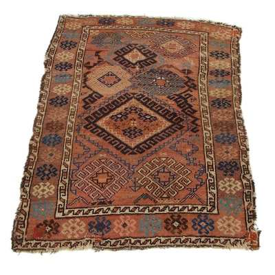 3'2 x 4'2 Hand-Knotted Persian Kurdish Caucasian Accent Rug, circa 1900