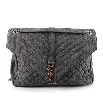 Yves Saint Laurent Monogram Slouchy Envelope Shoulder Bag in Black Quilted Denim